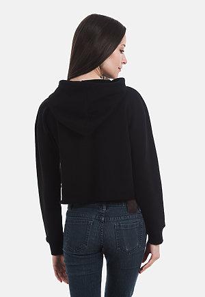 Crop Hoodie BLACK back