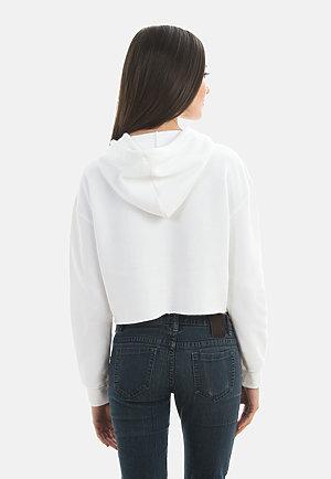 Crop Hoodie WHITE back