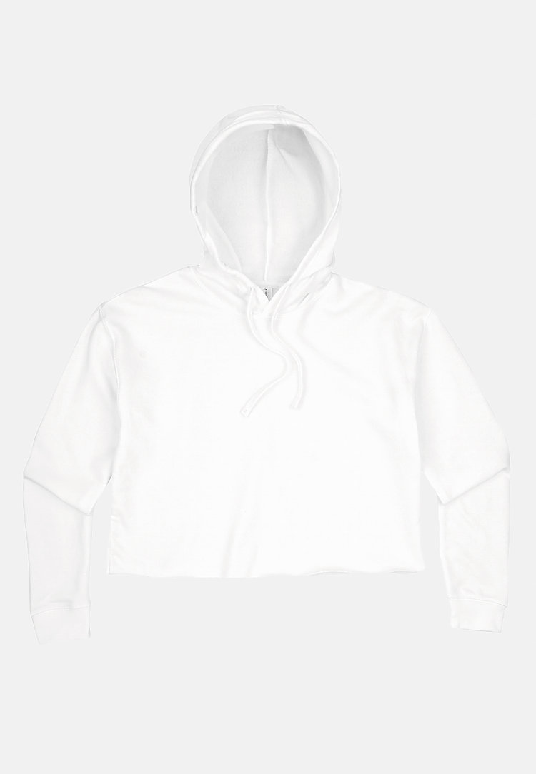 Crop Hoodie WHITE flat