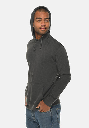 French Terry Hoodie HEATHER CHARCOAL side