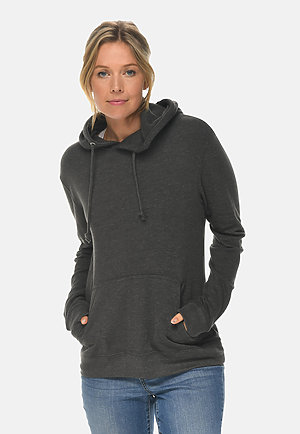 French Terry Hoodie HEATHER CHARCOAL frontw