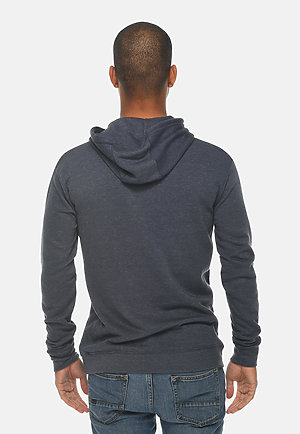 French Terry Hoodie HEATHER DENIM back