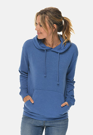 French Terry Hoodie HEATHER ROYAL frontw