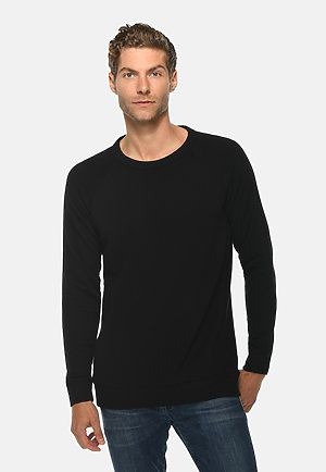 French Terry Raglan Crewneck BLACK front