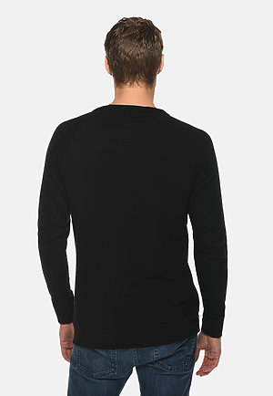 French Terry Raglan Crewneck BLACK back