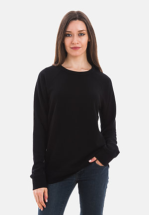 French Terry Raglan Crewneck BLACK frontw