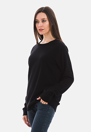 French Terry Raglan Crewneck BLACK sidew