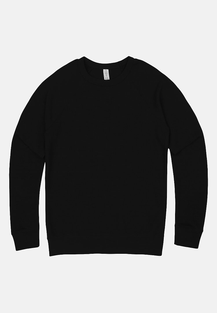 French Terry Raglan Crewneck BLACK flat