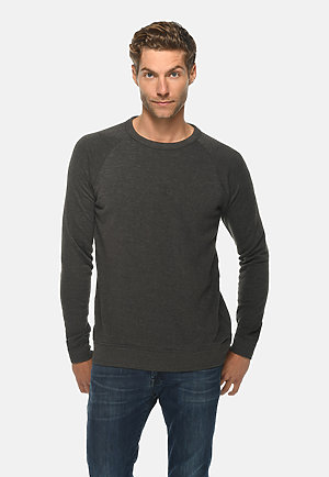 French Terry Raglan Crewneck HEATHER CHARCOAL front