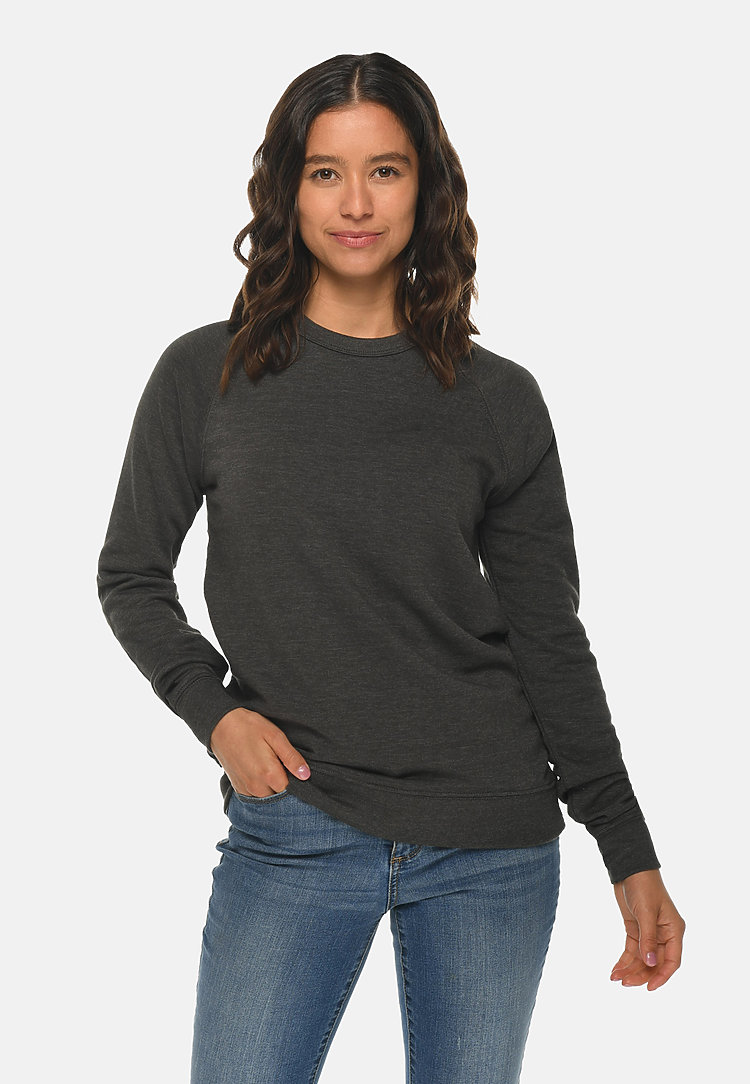 French Terry Raglan Crewneck HEATHER CHARCOAL frontw