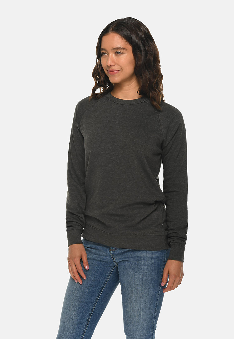 French Terry Raglan Crewneck HEATHER CHARCOAL sidew