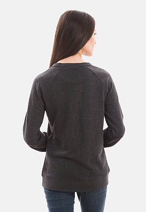 French Terry Raglan Crewneck HEATHER CHARCOAL backw