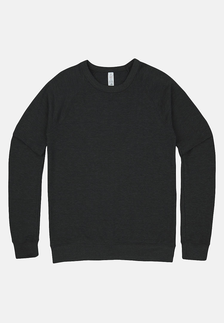 French Terry Raglan Crewneck HEATHER CHARCOAL flat