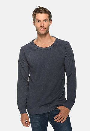 French Terry Raglan Crewneck HEATHER DENIM front