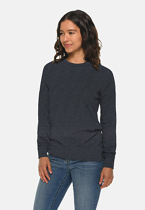 French Terry Raglan Crewneck HEATHER DENIM sidew