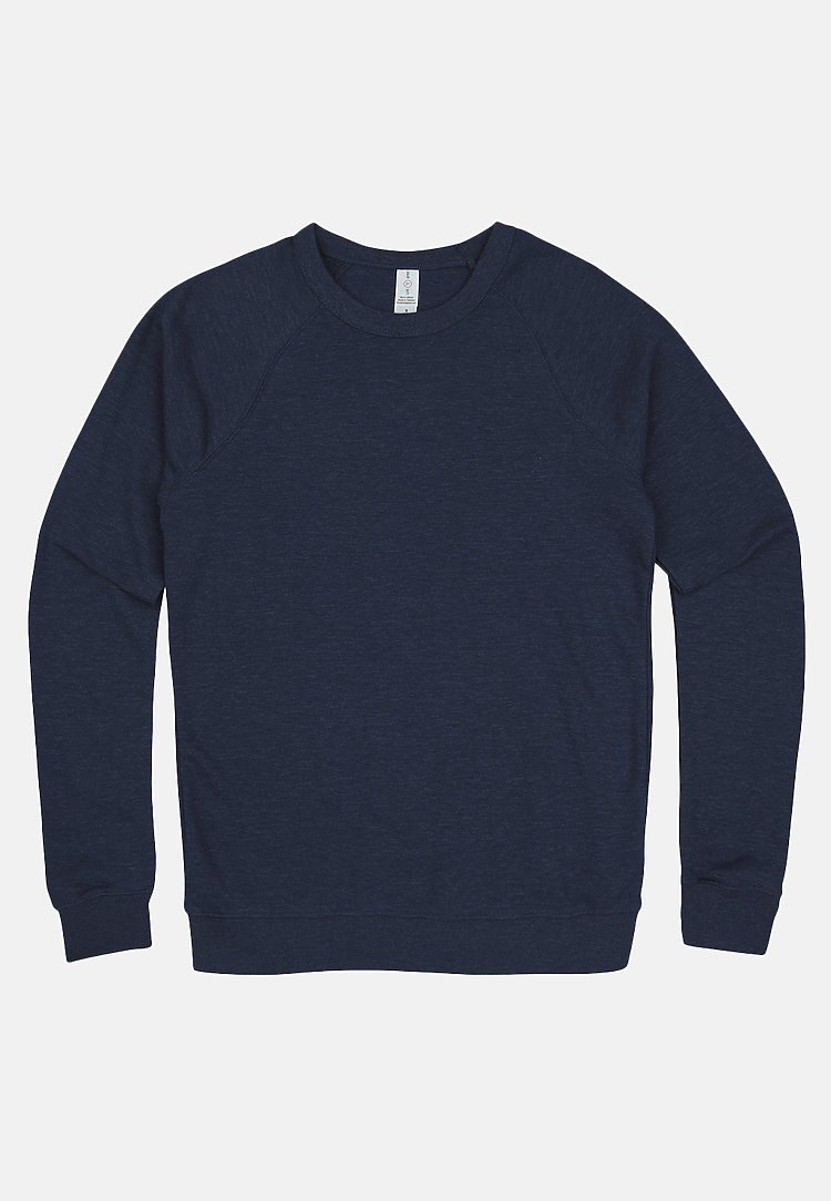 French Terry Raglan Crewneck HEATHER DENIM flat