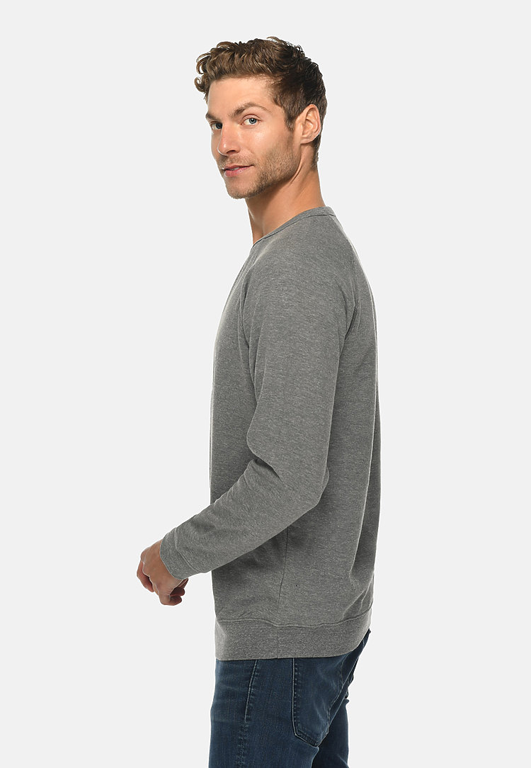 French Terry Raglan Crewneck HEATHER GRAPHITE frontw