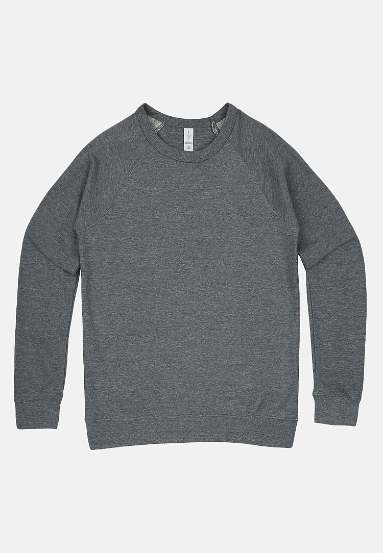 French Terry Raglan Crewneck HEATHER GRAPHITE flat