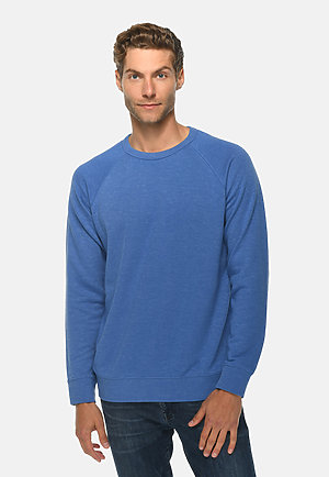 French Terry Raglan Crewneck HEATHER ROYAL front