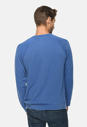 French Terry Raglan Crewneck HEATHER ROYAL back