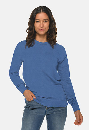 French Terry Raglan Crewneck HEATHER ROYAL frontw