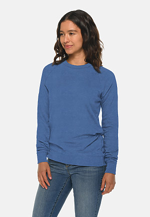 French Terry Raglan Crewneck HEATHER ROYAL sidew