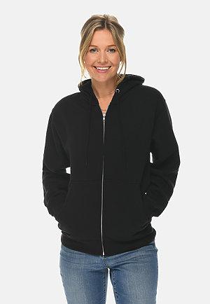 Premium Full Zip Hoodie BLACK frontw
