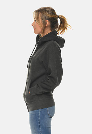 Premium Full Zip Hoodie CHARCOAL HEATHER sidew