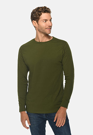 Long Sleeve Crewneck Tee ARMY GREEN front