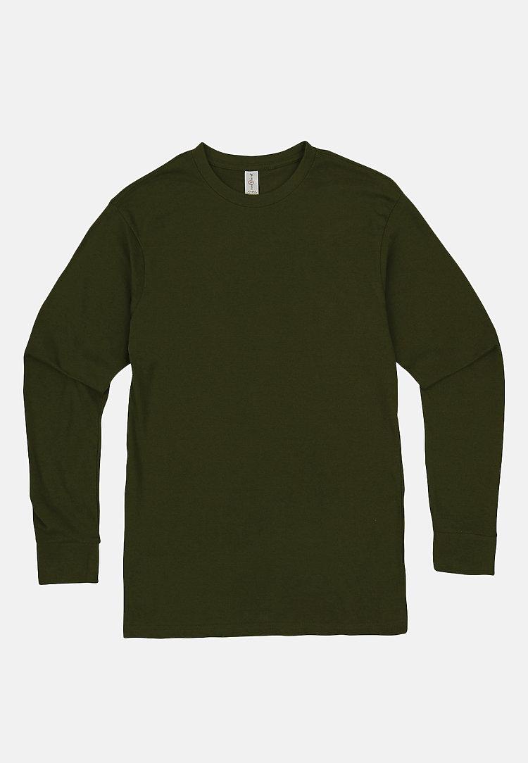 Long Sleeve Crewneck Tee ARMY GREEN flat