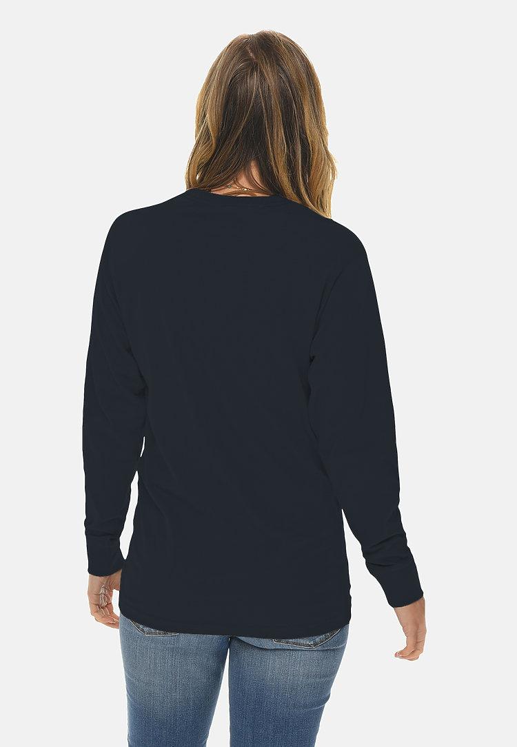 Long Sleeve Crewneck Tee NAVY BLUE backw