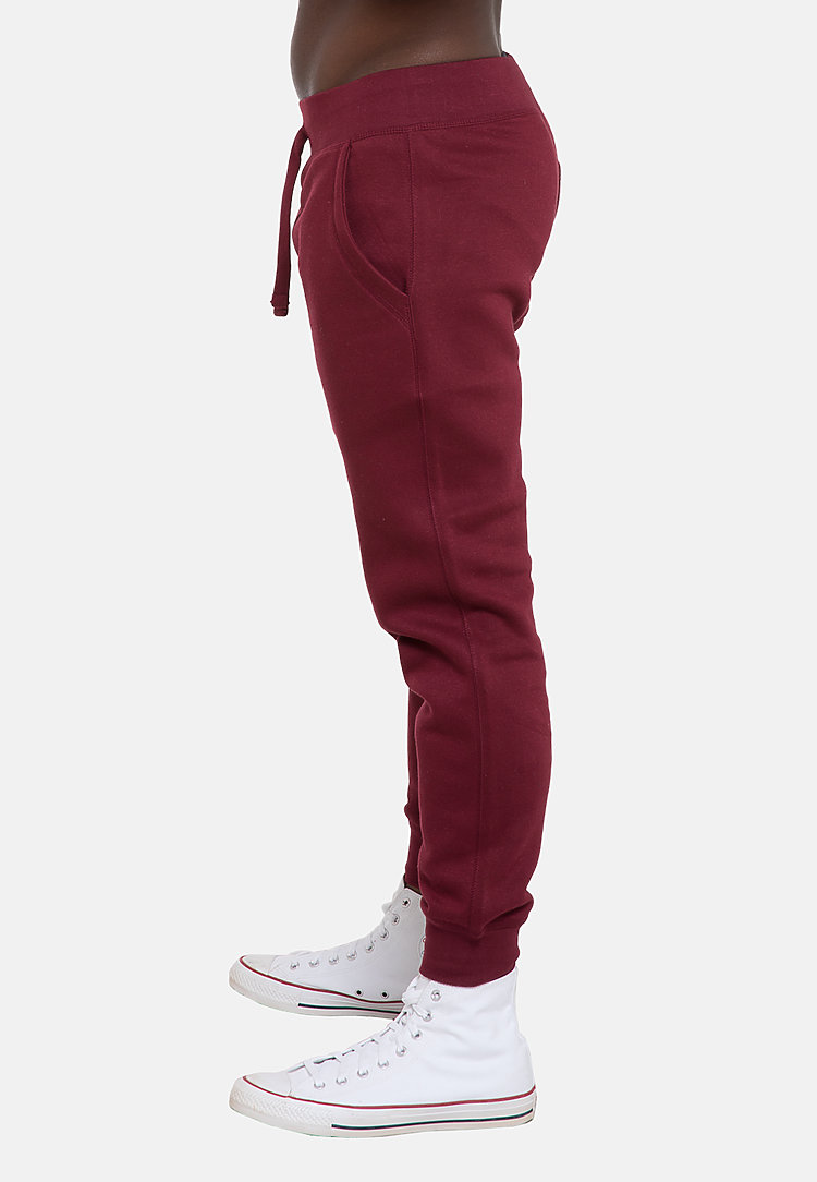 Premium Fleece Joggers BURGUNDY side