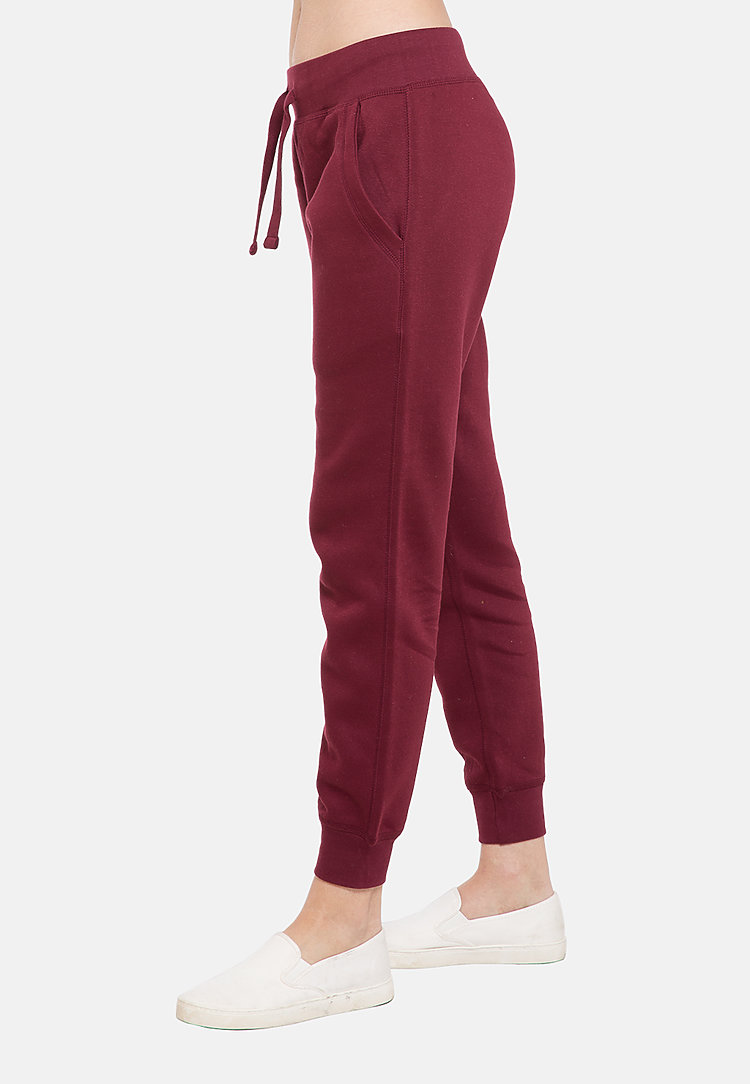 Premium Fleece Joggers BURGUNDY backw